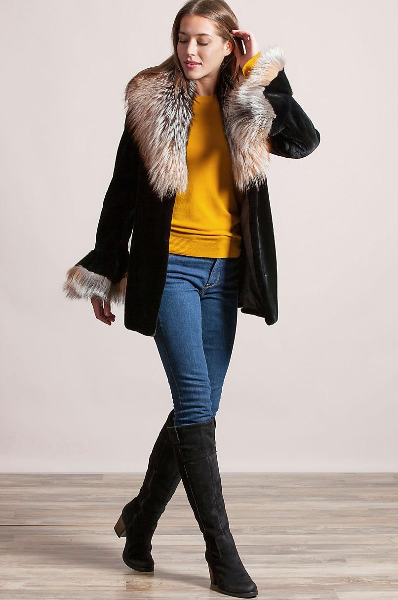 9807fc66bf7 Elizabeth Danish Mink Fur Jacket with Fox Fur Collar