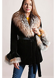 Elizabeth Danish Mink Fur Jacket with Fox Fur Collar