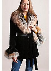Elizabeth Danish Mink Fur Jacket with Fox Fur Collar