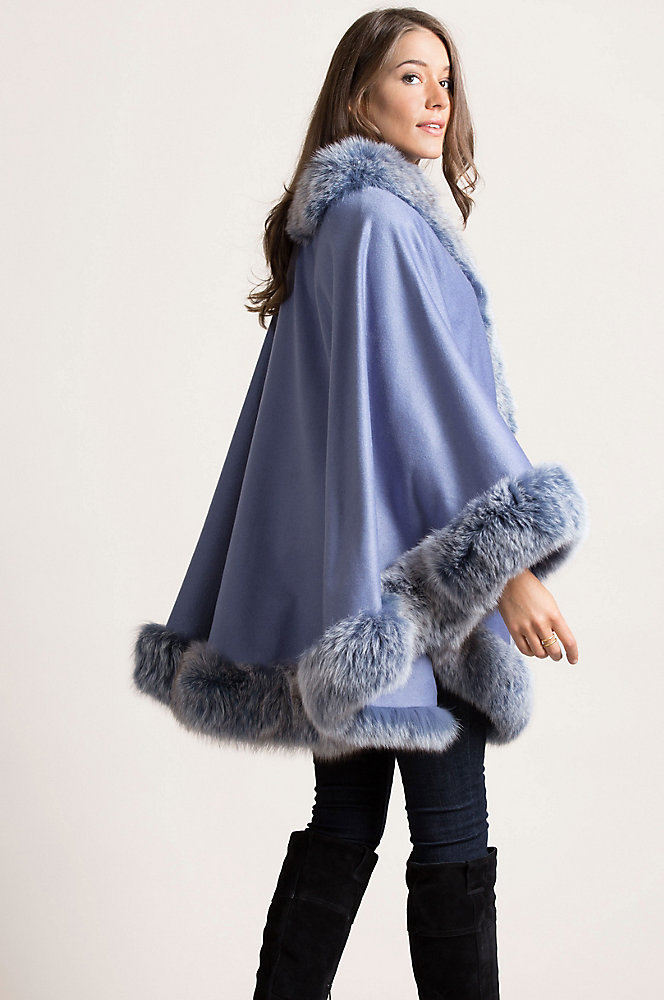 Meridian Cashmere Cape with Fox Fur Trim