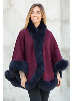 Loretta Reversible Wool & Cashmere Cape with Fox Fur Trim