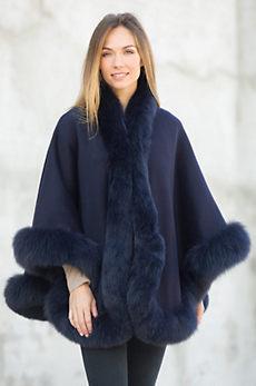 Loretta Reversible Wool & Cashmere Cape with Fox Fur Trim