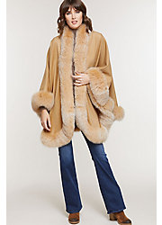 Merida Cashmere Cape with Fox Fur Trim