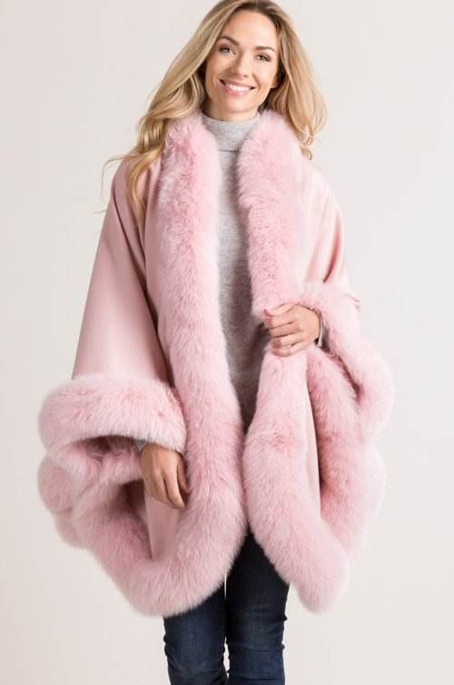 Merida Cashmere Cape with Fox Fur Trim