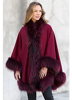 Keira Cashmere Cape with Raccoon Fur Trim