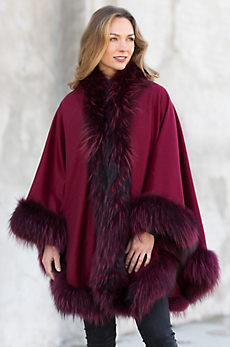 Keira Cashmere Cape with Raccoon Fur Trim