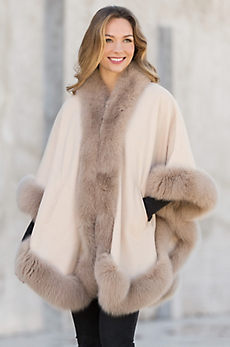 Natalie Cashmere and Wool Cape with Blue Fox Fur Trim
