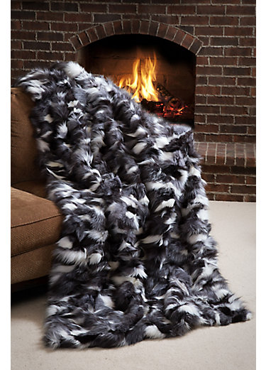 Winter Twilight Platinum Fox Fur Blanket