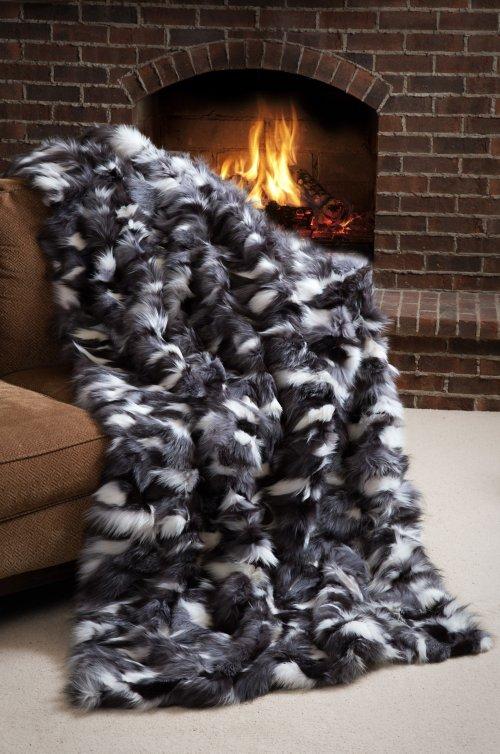 Winter Twilight Platinum Fox Fur Blanket