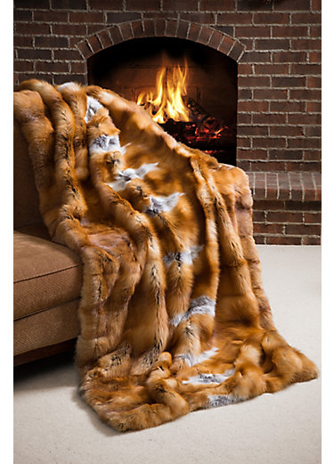 Nordic Embers Red Fox Fur Blanket