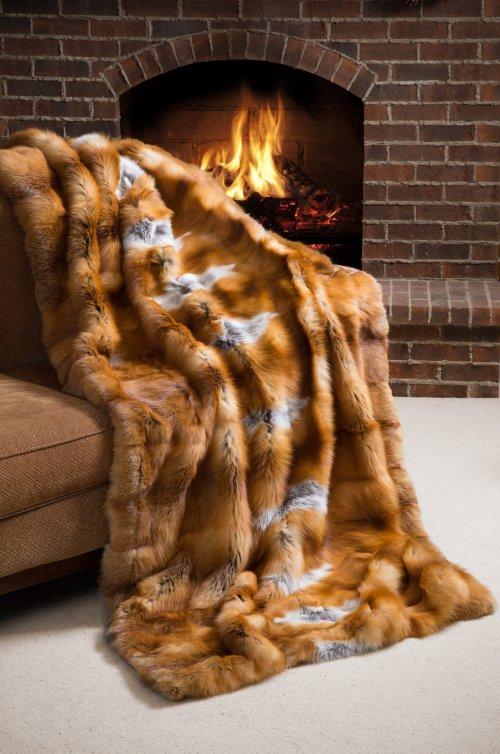 Nordic Embers Red Fox Fur Blanket