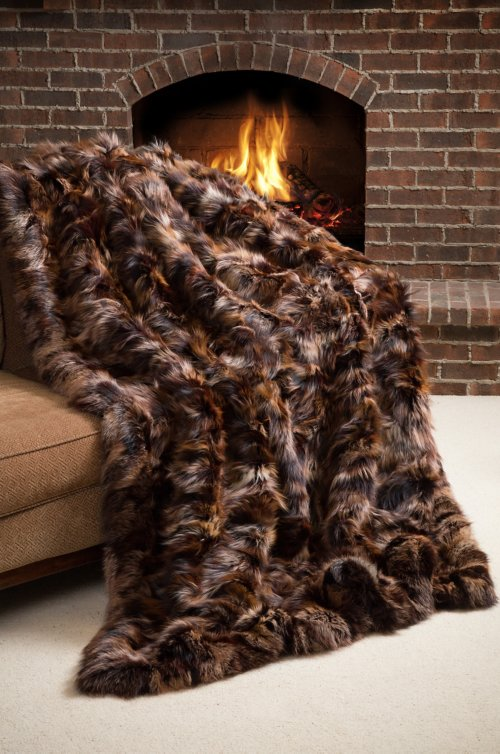 Winter Chalet Finnish Fox Fur Throw Blanket