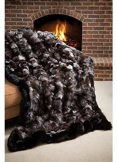 Winter's Keep Silver Fox Fur Blanket