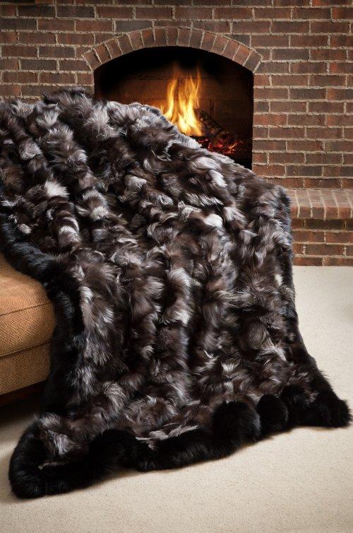 Winter's Keep Silver Fox Fur Throw Blanket