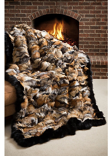 Royal Hearth Cross Fox Fur Blanket