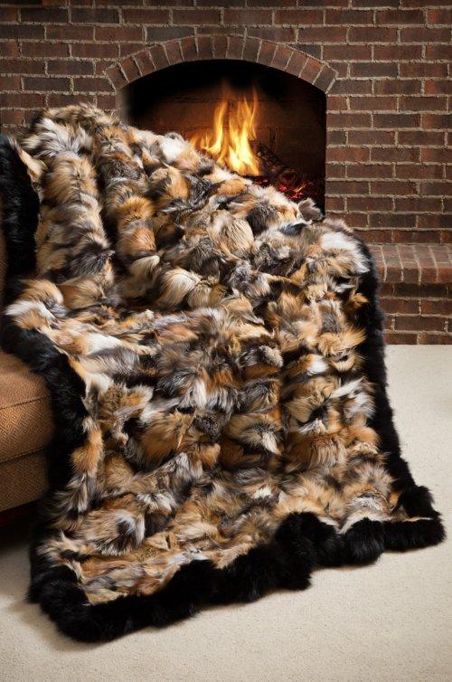 Royal Hearth Cross Fox Fur Blanket
