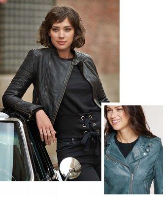 Cocktail dress leather jacket