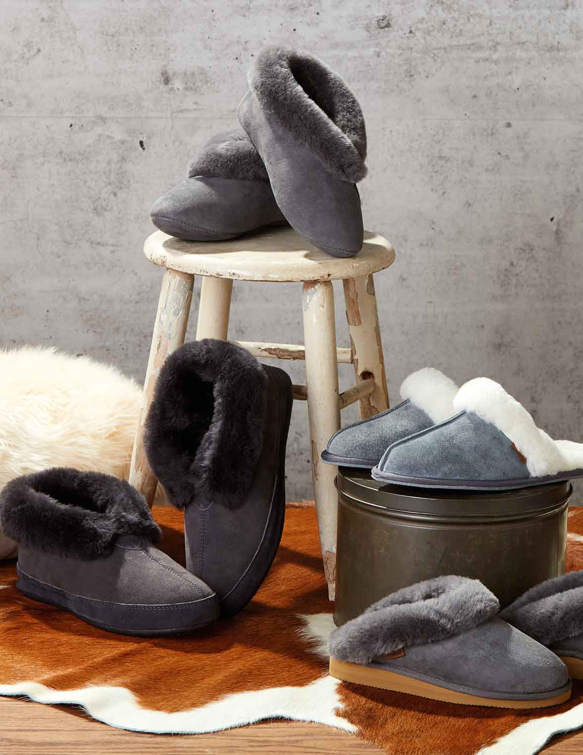 Genuine sheepskin slippers display
