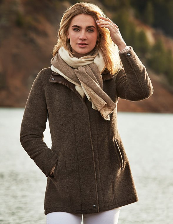 Woman wearing a wool coat