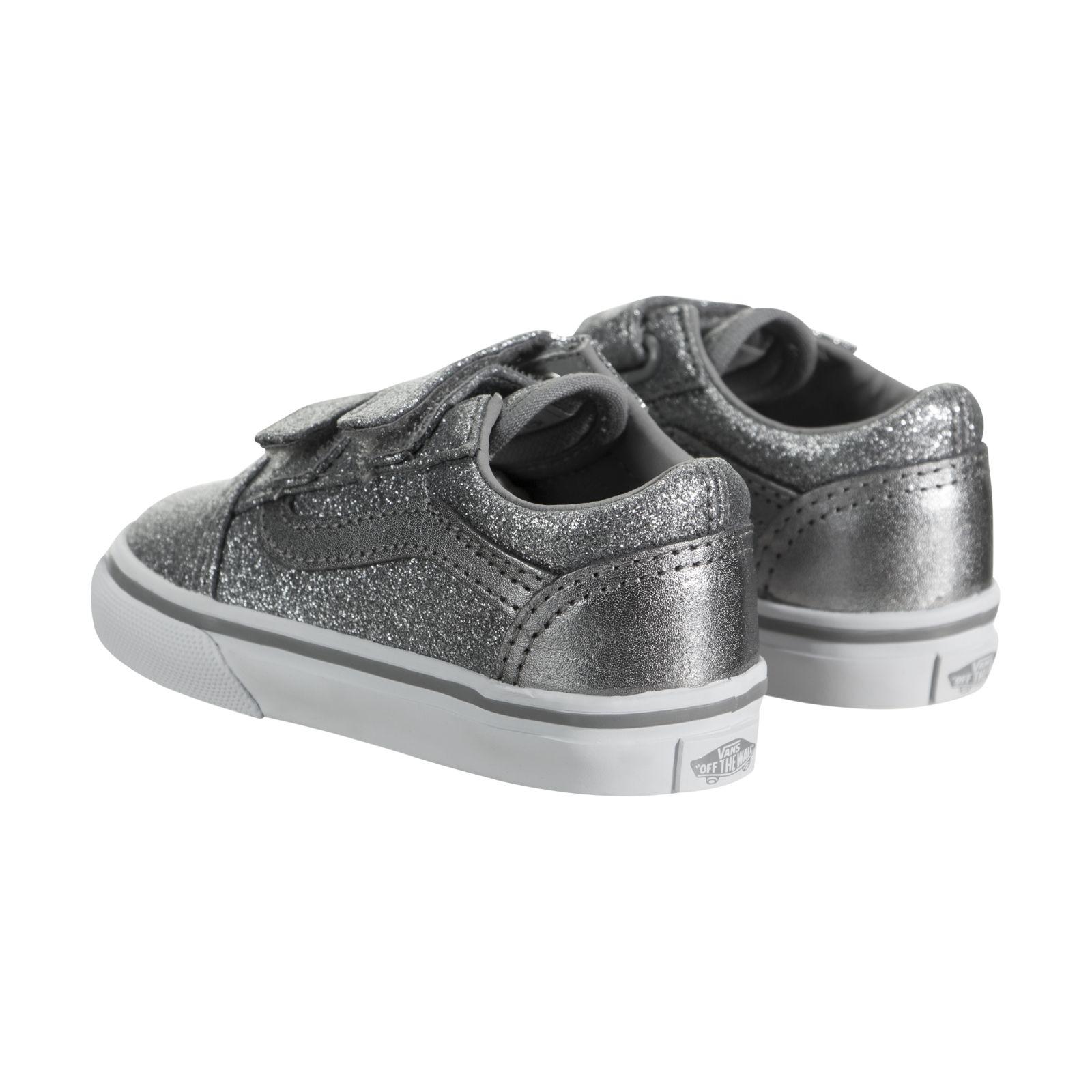 0f7caea13c68bc VANS Toddlers Old Skool V Glitter Metallic Frost Gray Skate Shoe 10 ...