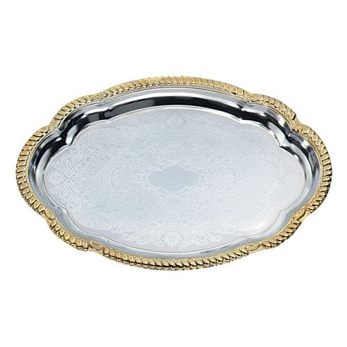 Vollrath® 47265 Odyssey 18.13 x 13 Oval Gold Trim Serving Tray