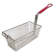 Adcraft® FBR-13612 Red Handle Nickel Plated Fry Basket
