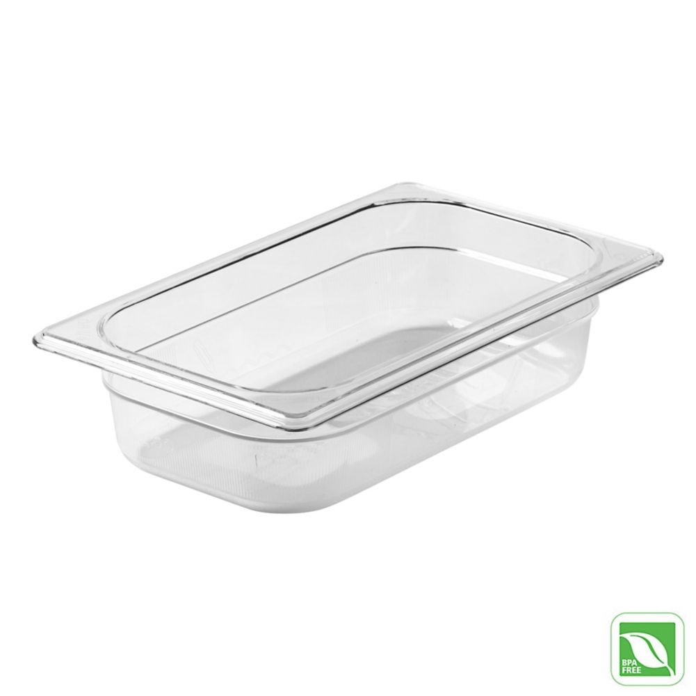 "Rubbermaid FG110P00CLR Clear 1/4 Size x 2.5"" D Cold Food Pan"
