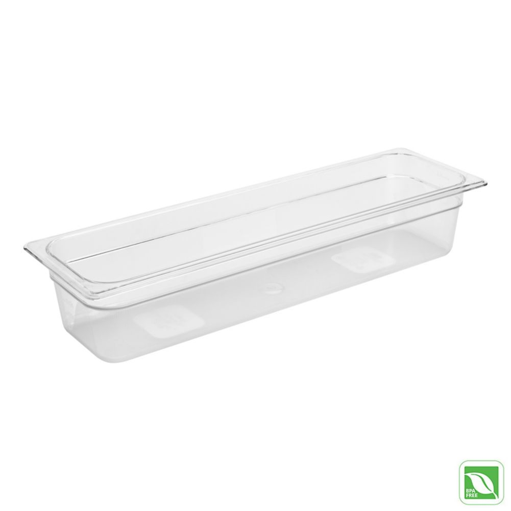"Rubbermaid FG140P00CLR Clear Half Long Size x 4"" D Cold Food Pan"
