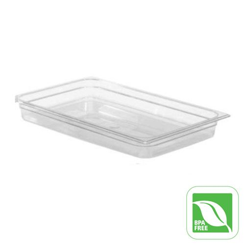 "Rubbermaid FG130P00CLR Clear Full Size x 2.5"" D Cold Food Pan"