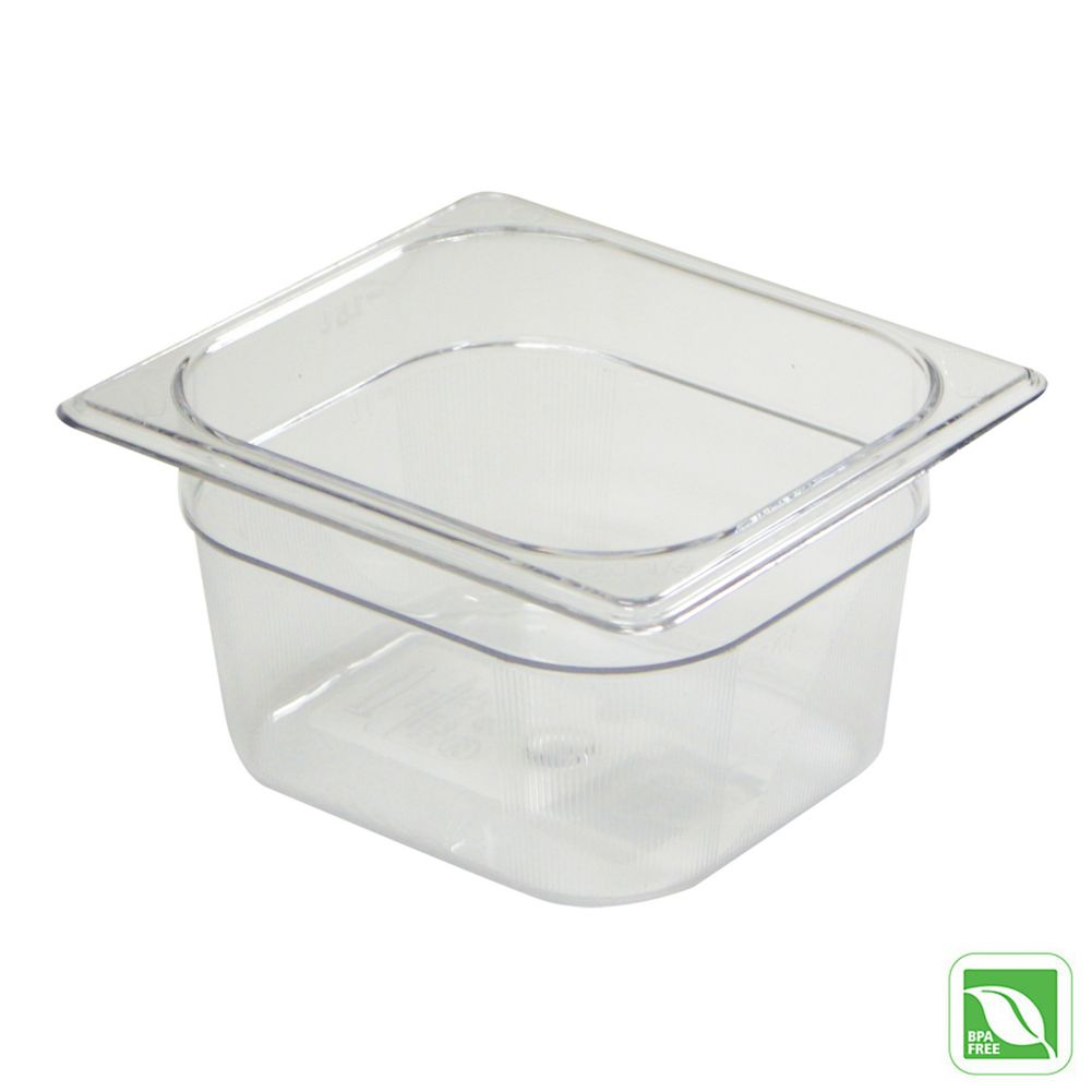 "Rubbermaid® FG105P00CLR Clear Sixth Size x 4"" D Food Pan"