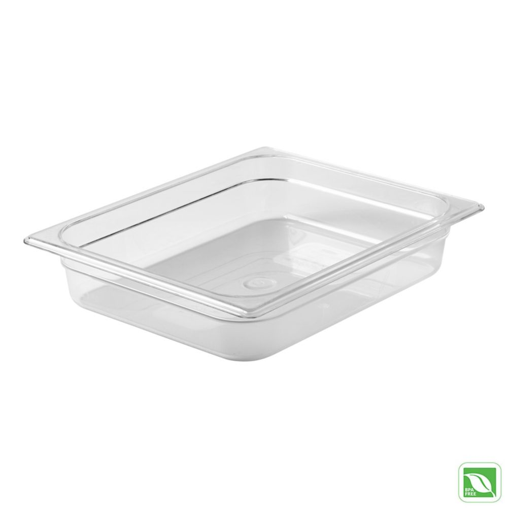 "Rubbermaid FG123P00CLR Clear Half Size x 2.5"" D Cold Food Pan"