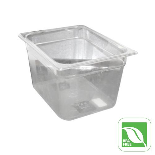"Rubbermaid® FG126P00CLR Clear Half Size x 8"" D Cold Food Pan"