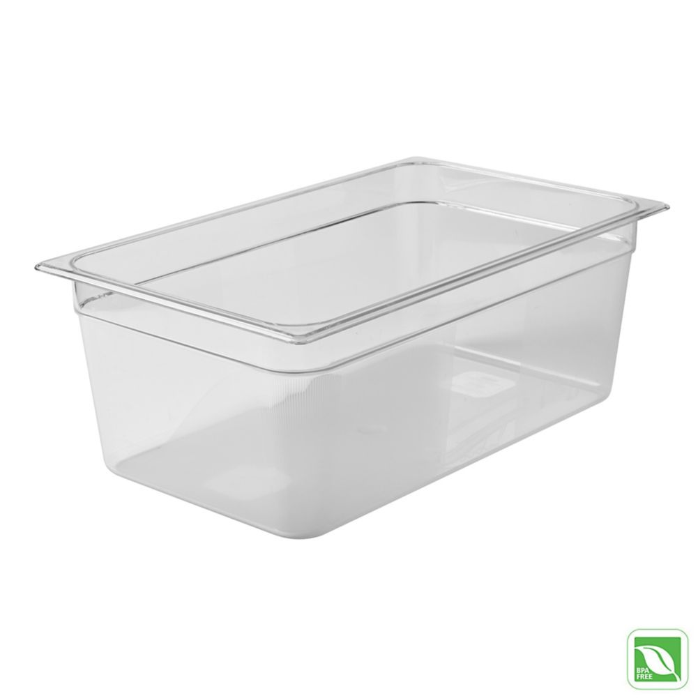 "Rubbermaid® FG133P00CLR Clear Full Size x 8"" D Cold Food Pan"