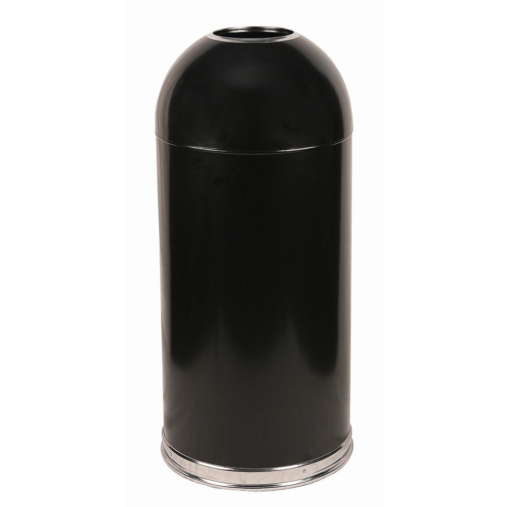 Witt 415DTBK Black 15 Gallon Dome Top Waste Receptacle
