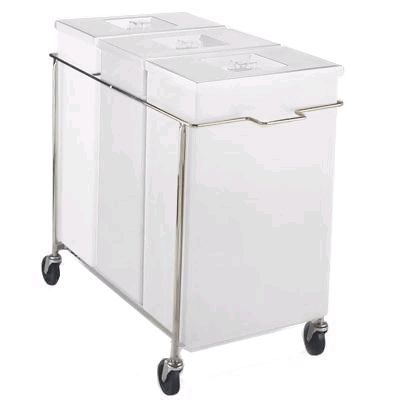 Faribo P434 C/A-2H-011 3-Compartment White Bin Assembly With Cover