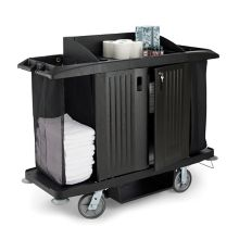 Rubbermaid® FG619100BLA Black Full Size Housekeeping Cart w/ Doors