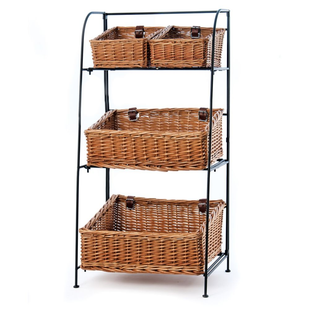 Willow 3-Tier Iron Display Rack with Baskets
