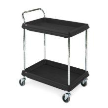 Metro BC2636-2DBL Black Polymer Deep Ledge 2-Shelf Utility Cart