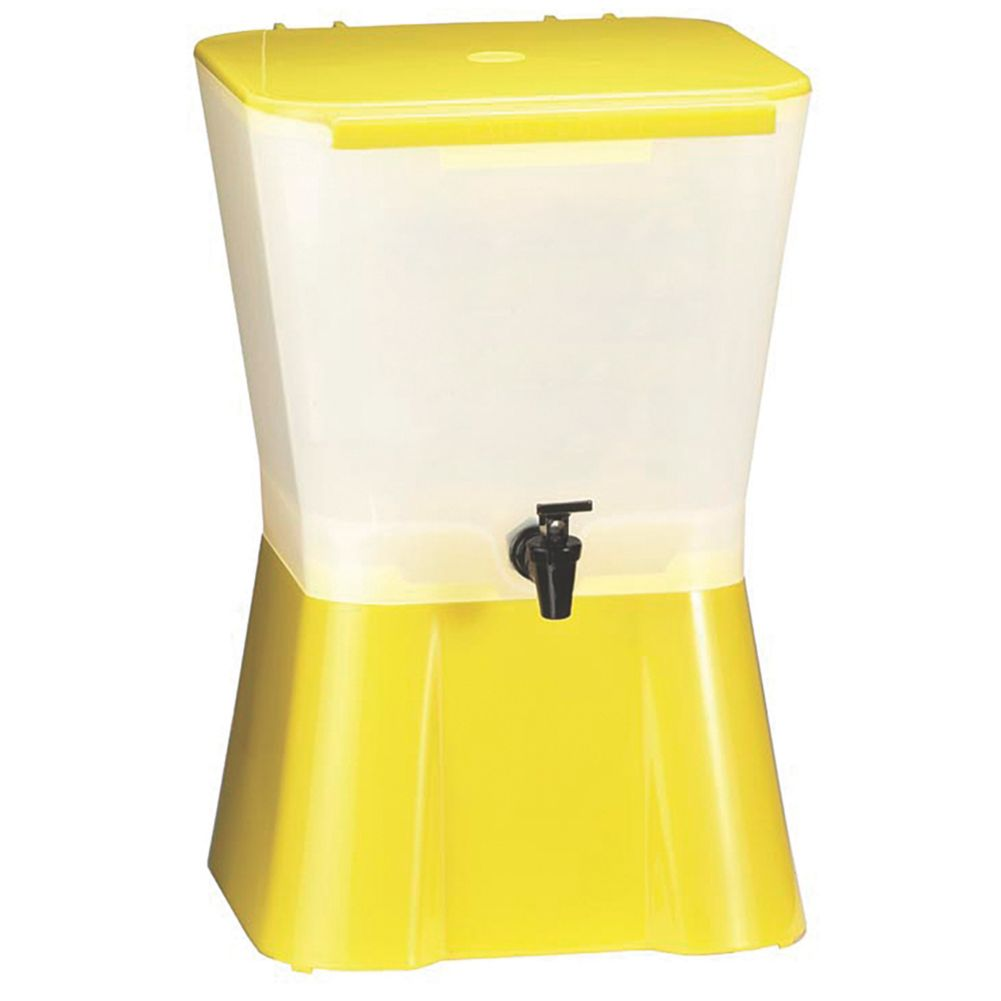 TableCraft 955 Yellow & White 3 Gallon Plastic Beverage Dispenser