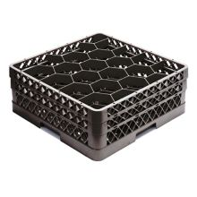 Traex® TR11GG-06 Black 20 Compartment Glass Rack with 2 Extenders