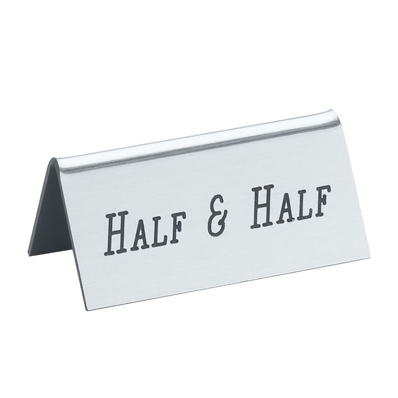 "Cal-Mil 228-8-010 Silver ""Half and Half"" Beverage Sign Tent"