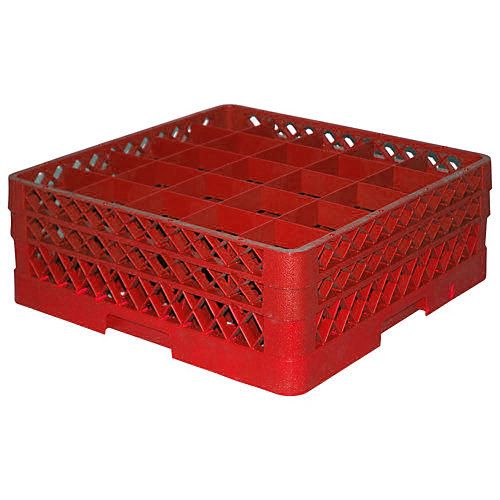 Traex® TR6BB-02 Red 25 Compartment Glass Rack with 2 Extenders