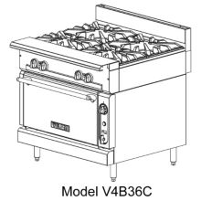 Vulcan V4B36 V Series Natural Gas Range with 4 Burners / Modular Base