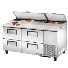 "True TPP-67D-4 S/S 4-Drawer 20.6 CF Pizza Prep Table With 5"" Casters"