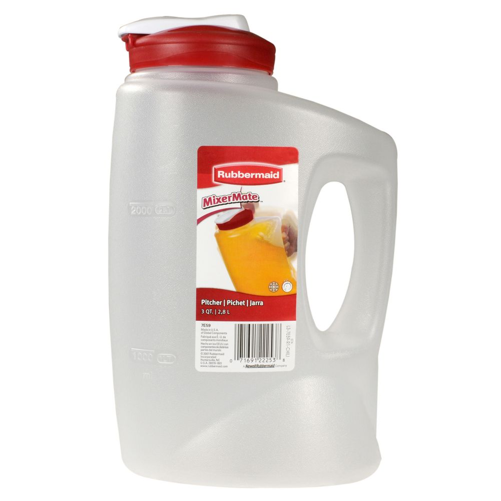 Rubbermaid® 1776501 MixerMate Clear 3 Qt Pitcher w/ Chili Red Lid