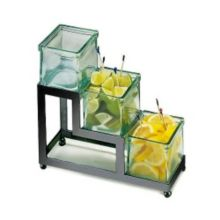 Cal-Mil 1803-4-13 Black Squared Stair-Step Frame w/ 3 Green Glass Jars