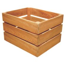 Crate Farm OC-1512-OK Half Bushel Oak Stain Wood Orchard Crate