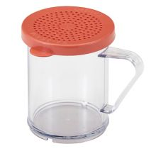 Cambro 96SKRM135 Clear 10 Oz Shaker with Red Medium Grain Product Lid
