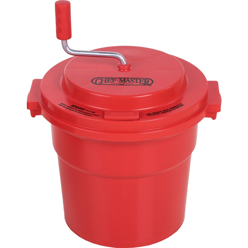 Chef-Master™ 90005 Red Manual 5-Gallon Salad Dryer Spinner