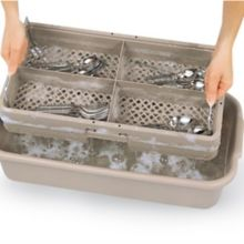 Traex® 1303 Beige 4 Compartment Handled Half Tub Flatware Rack